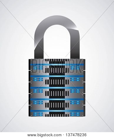 Technology and data base design represented by web hosting and padlock icon. Colorfull and isolated illustration.