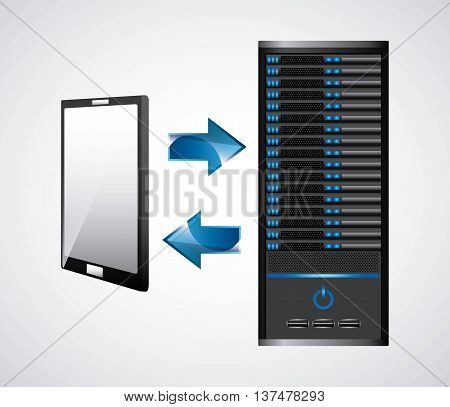 Technology and data base design represented by web hosting and smartphone icon. Colorfull and isolated illustration.