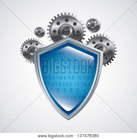 Technology and data base design represented by web hosting with gears icon. Colorfull and isolated illustration.