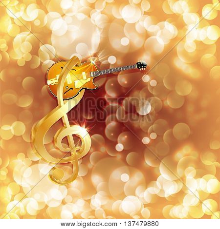 Vector illustration of musical background treble clef and a jazz guitar against a bright background with flares and sparks.