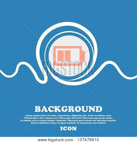 Battery Half Level Sign Icon. Low Electricity Symbol. Blue And White Abstract Background Flecked Wit