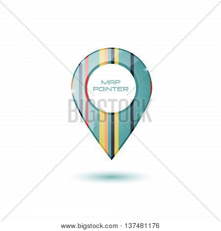 Map vector icon. Location pointer. gloss surface. colorful stiped fill