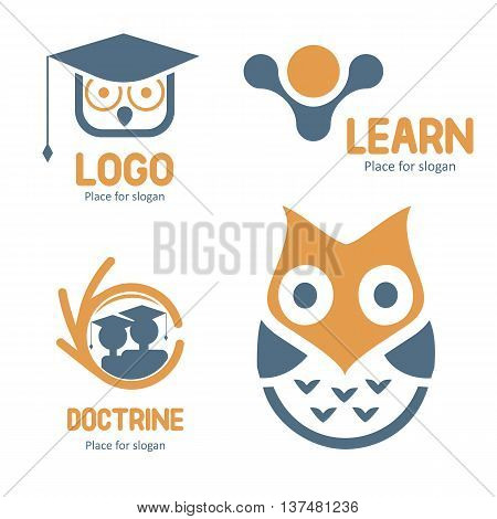 Isolated abstract studying vector logo set. Cartoon owl character logotypes collection. Education icons. School and university emblems