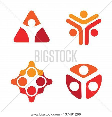 Isolated red and white color decorative vector logo set. Unusual human silhouette logotypes collection. Geometric figures icons. Triangular, rhombic, round shape signs
