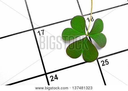 Clover leaf on calendar background