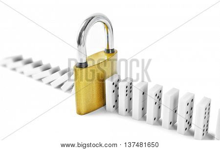 Dominoes with lock, isolated on white