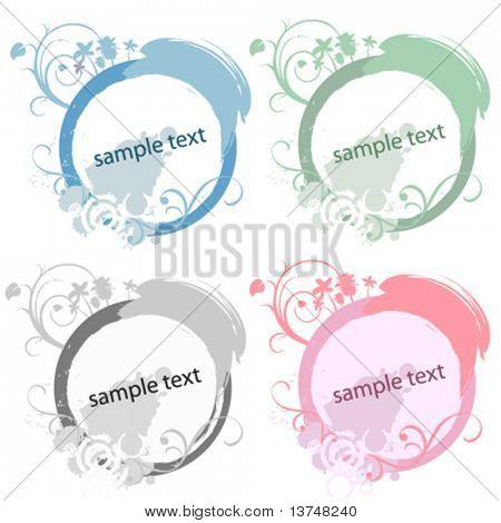 circle floral frame set