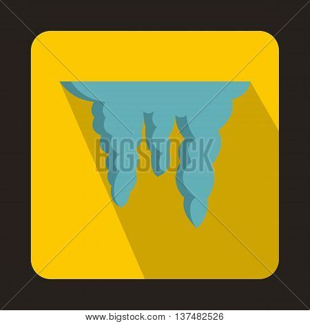 Icicles icon in flat style on a yellow background