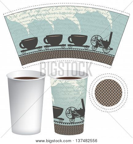 pattern paper cup of tea or coffee with an old steam locomotive