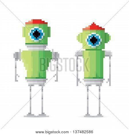 pixel style green robot set . vector robots illustration