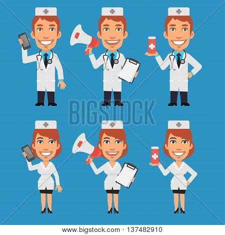 Vector Illustration, Doctor and Nurse Holding Megaphone Phone Tablet, Format EPS 8