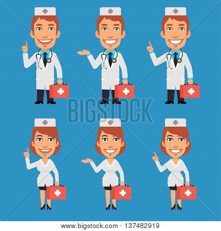 Vector Illustration, Doctor and Nurse Holding Suitcase and Points, Format EPS 8