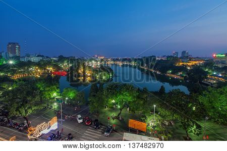 HA NOI, VIET NAM, April 19, 2016 Hoan Kiem Lake, downtown Ha Noi, Vietnam, seen from above, in the evening