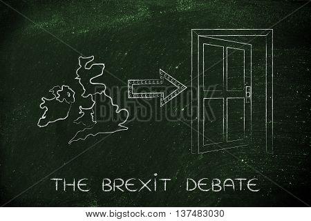 Uk Next To An Exit Door With Arrow, The Brexit Debate