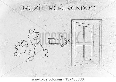 Uk Next To An Exit Door With Arrow, Brexit Referendum