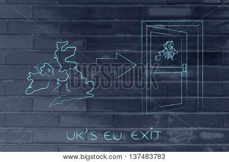 Gb Next To Europe's Door With Arrow, Uk's Eu Exit