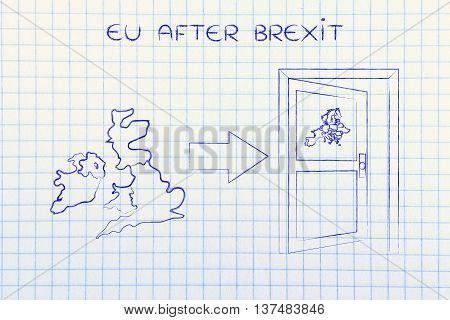 Uk Next To An Europe's Exit Door With Arrow, Eu After Brexit