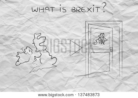 Uk Next To An Europe's Exit Door With Arrow, What Is Brexit
