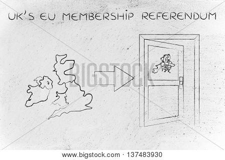 Uk Next To An Europe's Exit Door With Arrow, Eu Membership Referendum