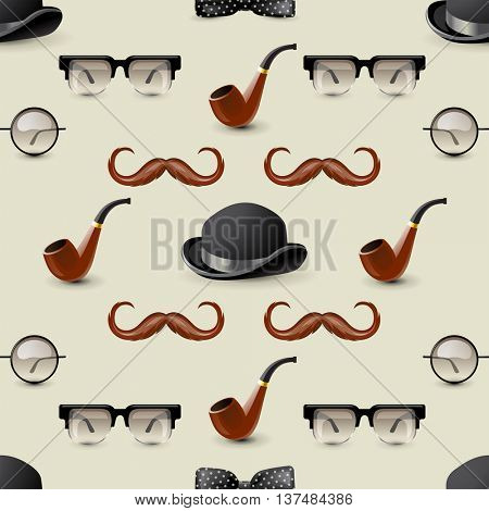 Retro-styled seamless ornament with men accessories