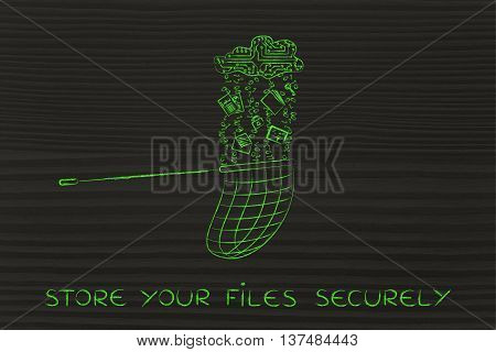 Net Catching Data Falling From An Electronic Cloud, Store Your Files Securely