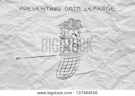 Net Catching Data Falling From An Electronic Cloud, Preventing Leakage