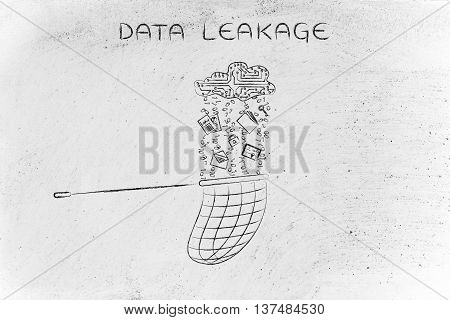 Net Catching Files Falling From An Electronic Cloud, Data Leakage