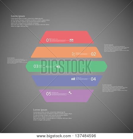 Illustration infographic template with shape of hexagon. Object horizontally divided to five parts with various colors. Each part contains Lorem Ipsum text number and simple sign. Background is dark.
