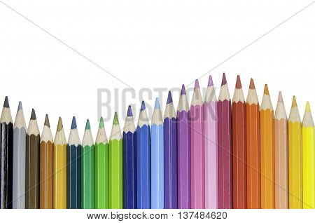 Colored pencils isolated on white background .