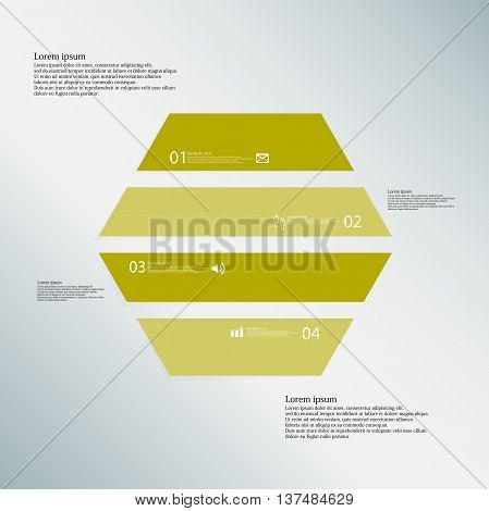 Illustration infographic template with shape of hexagon. Object horizontally divided to four parts with green color. Each part contains Lorem Ipsum text number and simple sign. Background is blue.