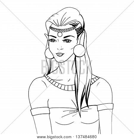 Vector illustration of a forest elf girl hand-painted. On an isolated white background. Doodle portrait of an elven princess.