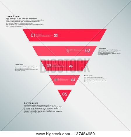Illustration infographic template with shape of triangle. Object horizontally divided to five parts with red color. Each part contains Lorem Ipsum text number and simple sign. Background is blue.