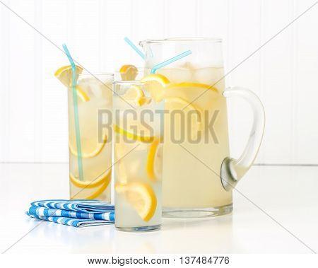 Tall glasses of ice cold homemade lemonade.