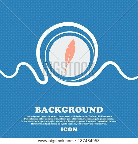 Feather Sign Icon. Retro Pen Symbo. Blue And White Abstract Background Flecked With Space For Text A