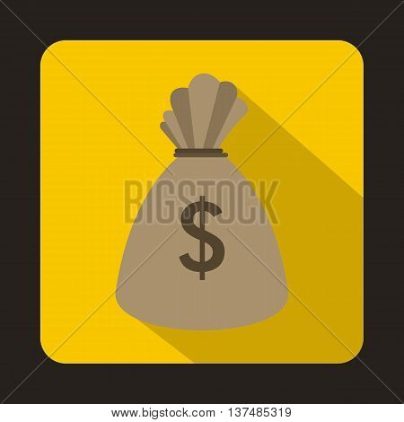 Money bag icon in flat style on a yellow background
