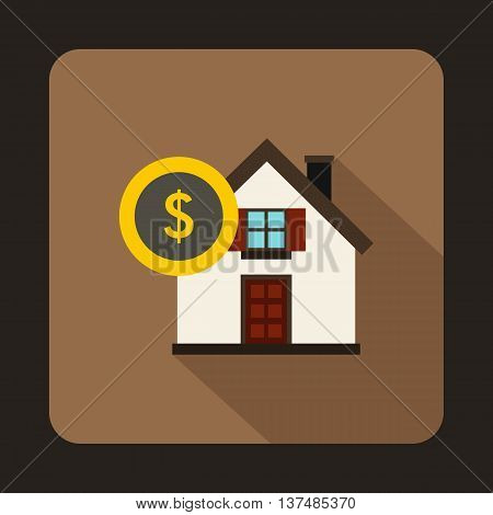 House and dollar sign icon in flat style on a coffee background