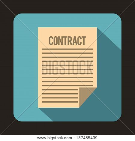 Contract icon in flat style on a light blue background