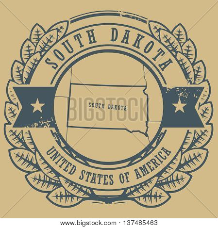 Grunge rubber stamp with name and map of South Dakota, USA, vector illustration