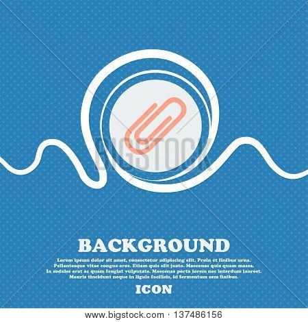 Paper Clip Sign Icon. Clip Symbol. Blue And White Abstract Background Flecked With Space For Text An