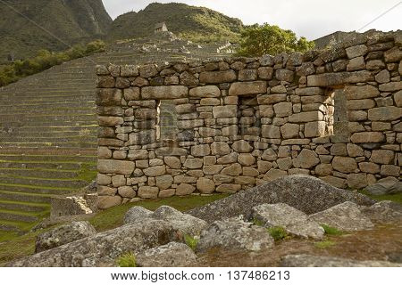 Ruins Of Lost Incan City Machu Picchu Near Cusco In Peru