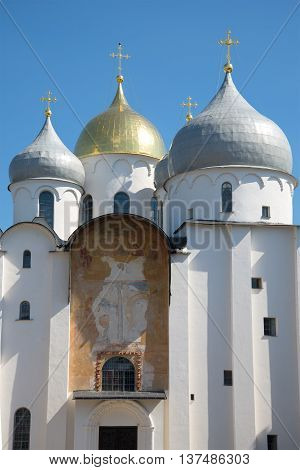 VELIKIY NOVGOROD, RUSSIA - JULY 04, 2015: A fragment of an ancient icon over the gates of St. Sophia Cathedral.  Religious landmark  of the city Veliky Novgorod, Russia
