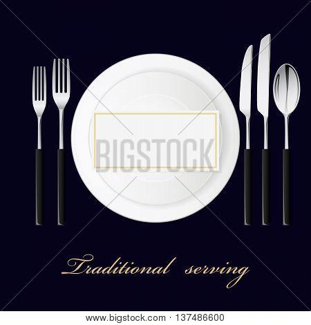 Forks, spoon, knives, plates. Serving set. Vector illustration.