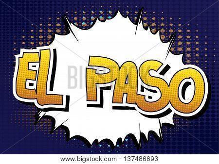 El Paso - Comic book style word.