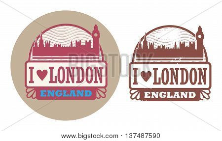 Stamp set with text Love London, England inside, vector illustration