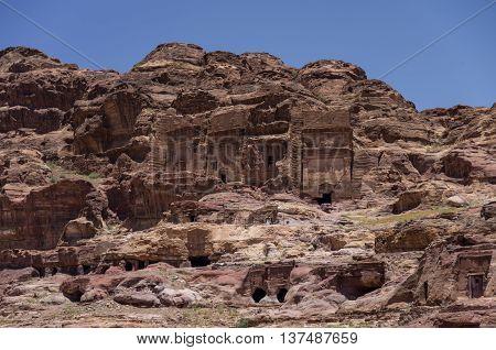 Mu'aisireh Tombs. The Cave Tombs  In Petra, Jordan