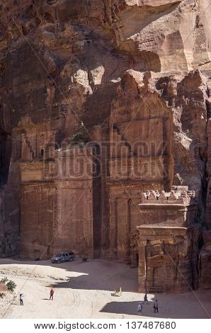Street Of Facades, R. Ancient City Of Petra, Jordan. It Is Now An Unesco World Heritage Site.