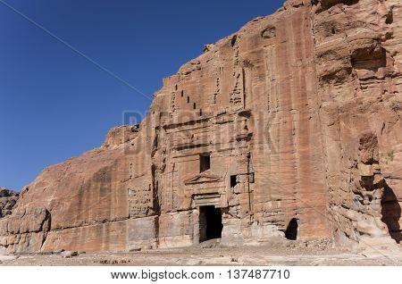 Ruin Of Moghar Annassara (christian Tombs ) In Petra, Jordan