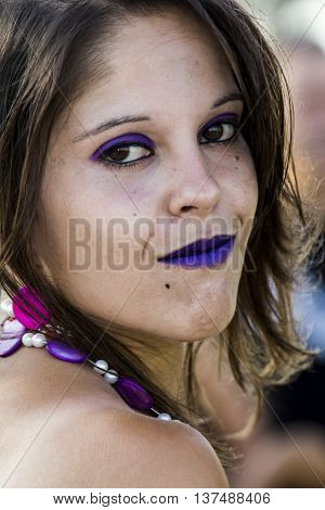 QUARTU S.E., ITALY - August 2, 2015: Beach Cosplay Party - costume parade held at the Marlin Club of Poetto Beach - Sardinia - portrait of a girl in cosplay costume