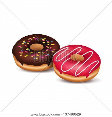 Vector illustration of two sugary donuts on a white background