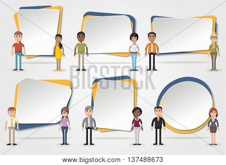 Vector banners / backgrounds with business people. Design text box frames.
